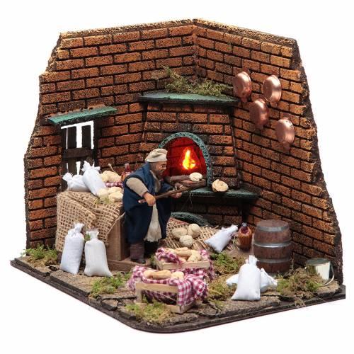 Animated nativity scene, baker with bread 10 cm s2