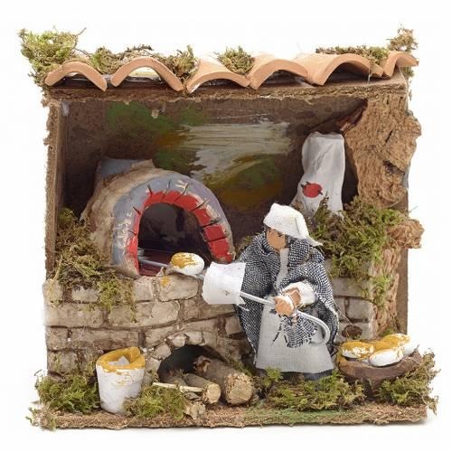 Animated nativity scene figurine, 6 cm moving baker s1