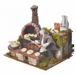 Animated nativity scene figurine, baker with light, 15cm s2