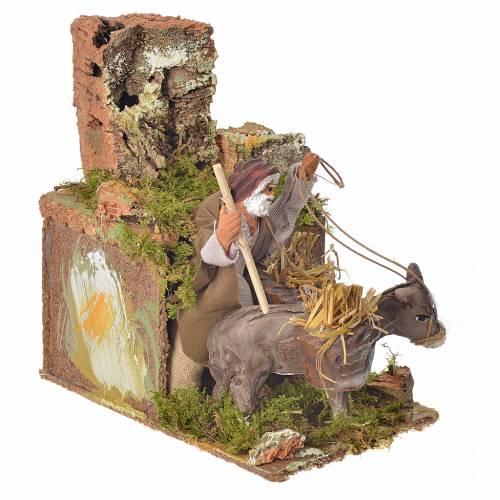 Animated nativity scene figurine, man and donkey 8cm s3