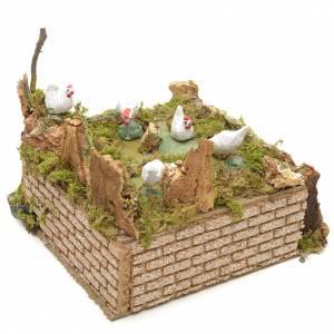 Animated Nativity Scenes: Animated nativity scene figurine, moving hens 17x17x15