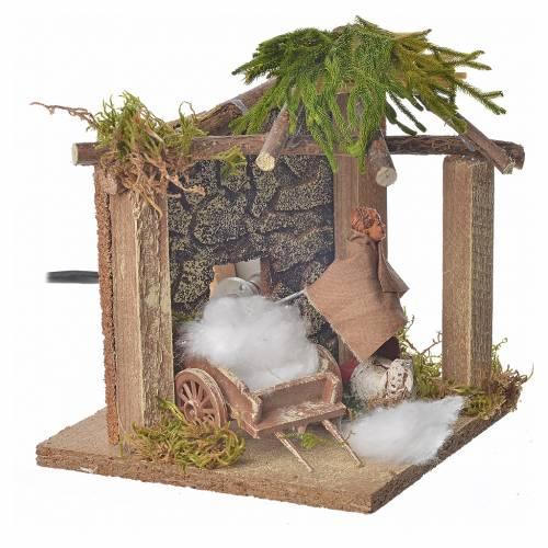 Animated nativity scene figurine, sheep shearer, 10 cm s2