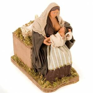 Neapolitan Nativity Scene: Animated nativity scene,  mother feeding baby 14 cm