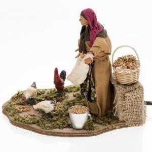 Animated nativity scene, woman feeding geese 14 cm s6