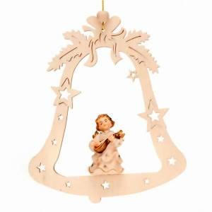 Ozdoby choinkowe z drewna i pvc: Aniołek muzykant na dzwonku