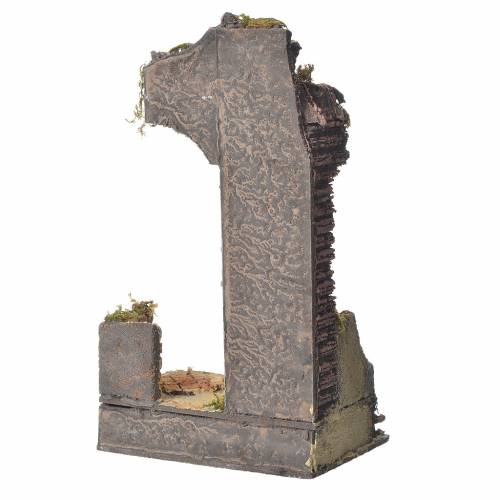 Antique temple with half arch for nativities, 30x15x12cm s3