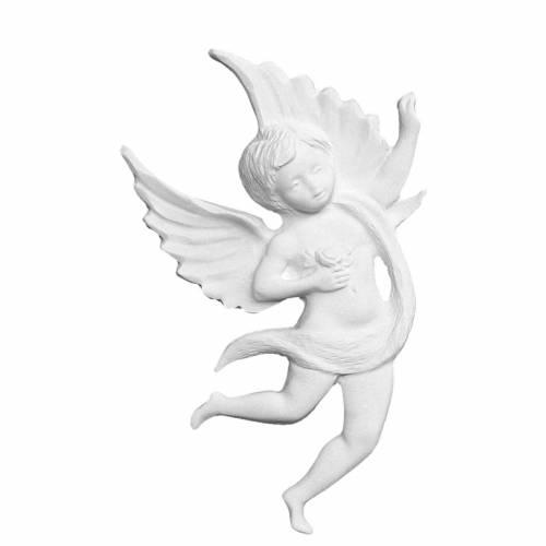 Applique ange avec rose 19 cm marbre blanc s1