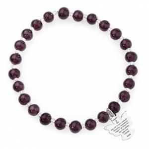 Armbänder AMEN: Armband AMEN dunkel violetten Perlen 6mm und Silber