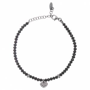 Armbänder AMEN: Armband AMEN schwarzen Kristallen Herz Anhänger Silber 925