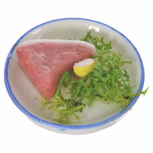 Assiette de viande et salade en cire pour santons 20-24 cm s2