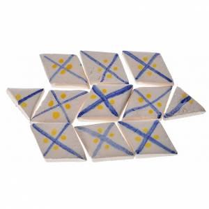 Azulejos romboidales de terracota esmaltada, lineas azul, 60pz s1