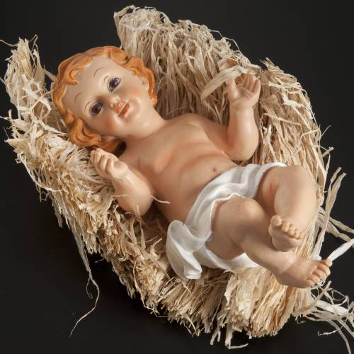 Baby Jesus figurine in pvc laying on straw, various sizes s3
