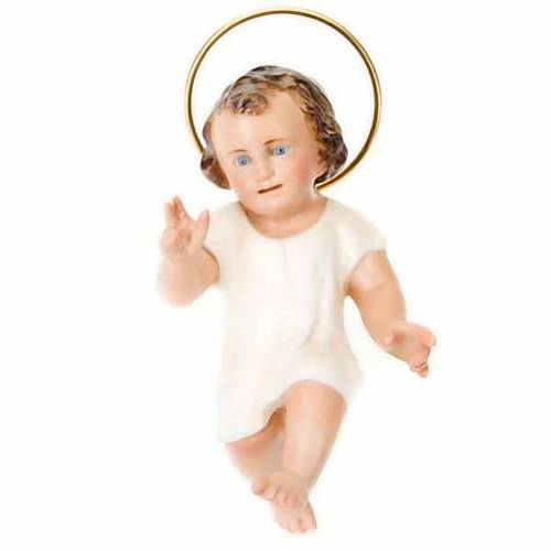Baby Jesus in wood paste, 15 cm elegant finish s1