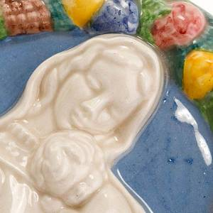 Bajorrelieve cerámica redondo Virgen con niño dorm s2