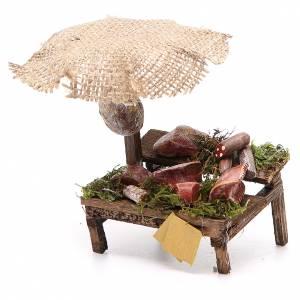 Banc crèche charcuterie viande avec parasol 12x10x12 cm s2