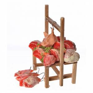 Banc du boucher en cire en miniature 9,5x5x14cm s3
