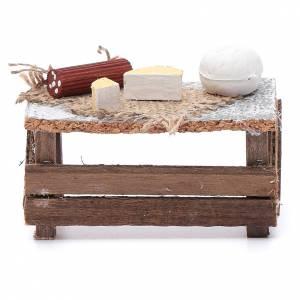 Aliments en miniature: Banc formes fromage et saucisson 8x9x5 cm pour crèche