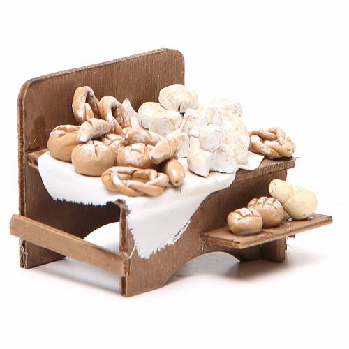 Banco con pane e formaggi 7x9x8 cm presepe napoletano s3