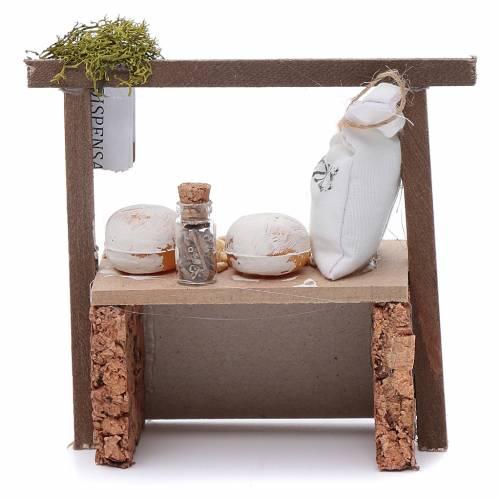 Banco farina e cereali per presepe 10x10x5 cm s4