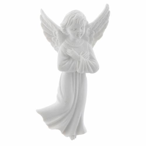 Bas relief ange bras croisées 11 cm marbre blanc s1