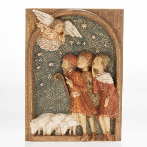 Bas relief bergers Crèche d'Autun bois peint s1