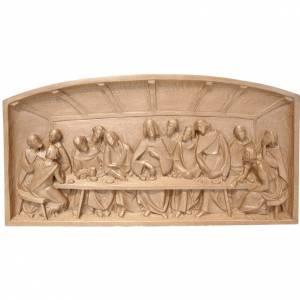 Bas-relief Cène bois Valgardena patiné s1
