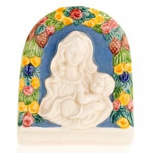 Bas-relief céramique Vierge avec enfant en bras s1