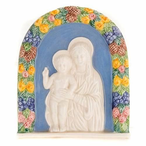 Bas-relief céramique Vierge avec enfant s1