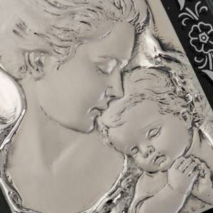 Bas-relief in silver, flowers, Mary and baby Jesus s2