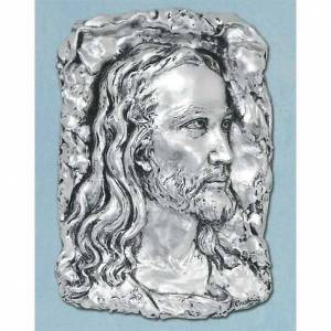Bas-relief in silver metal, face of Christ s1