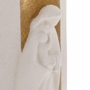 Bas relief Vierge à l'enfant or illuminé argile 29.5 cm s4