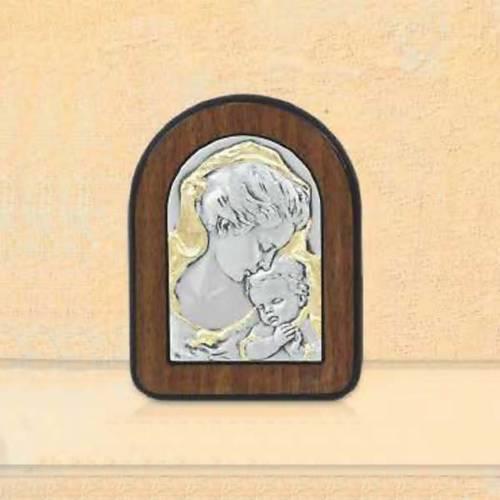 Bas-relief Vierge Marie et Jésus enfant argent or s1