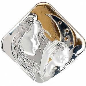Bassorilievo bilaminato oro arg. Maria con bimbo e luna s1