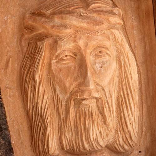 Bassorilievo legno Volto di Cristo occhi aperti s4