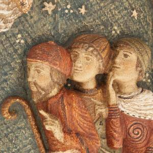 Bassorilievo pastori Presepe d'Autunno legno dipinto s3
