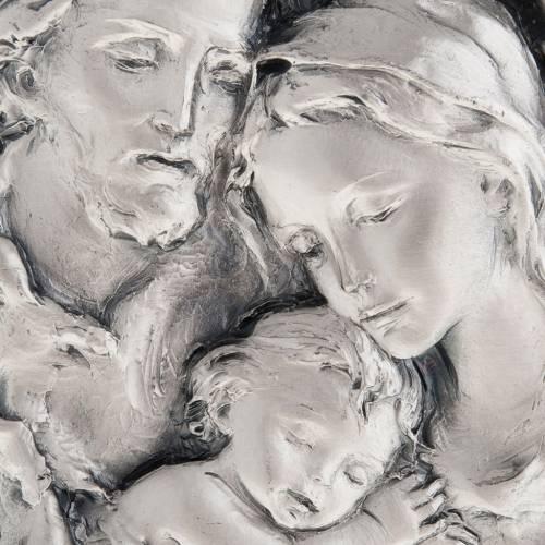 Bassorilievo Sacra Famiglia metallo argentato s2