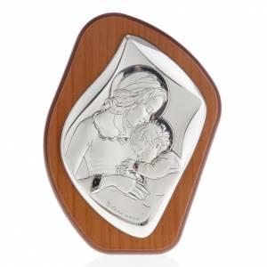 Silber Basreliefs: Bassrelief Silber Mutter mit schlafenden Kind Heiligenschein 11x