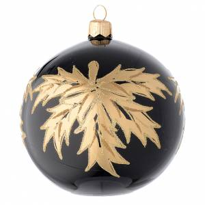 Bauble in black blown glass with gold leaf 100mm s1
