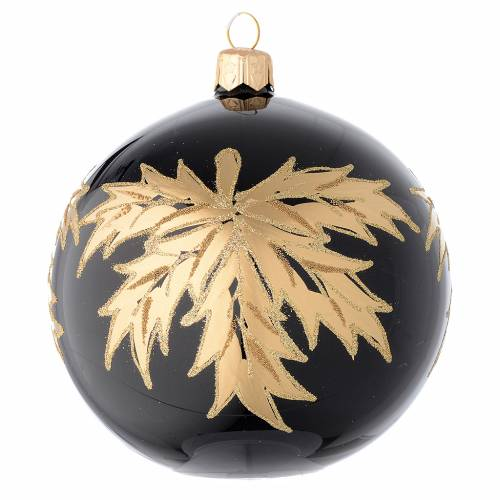 Bauble in black blown glass with gold leaf 100mm 1