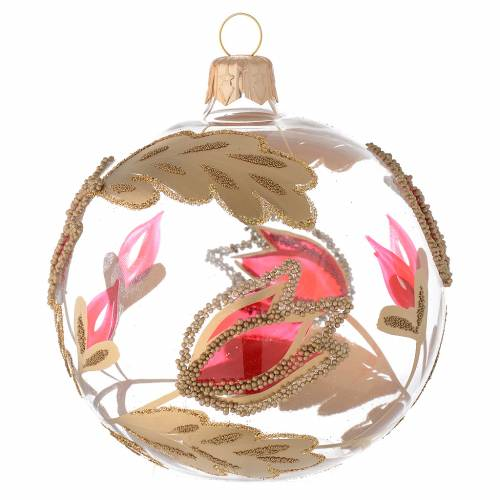 Bauble in blown glass with red and gold decoration in relief 80mm s2