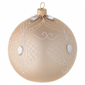 Bauble in gold blown glass with white tree decoration 100mm s2