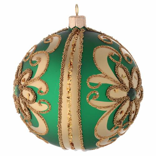 Bauble in green blown glass with gold glitter decoration 100mm s2