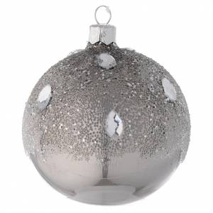 Bauble in silver blown glass with ice effect decoration 80mm s1