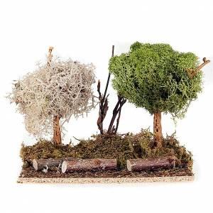 Moos, Stroh und Bäume für Krippe: Baumchen mit Flechte fuer Krippe