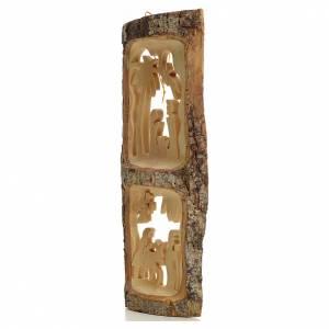 Krippe aus Olivenholz von Jerusalem: Baumstamm mit stilisierten Krippensszenen