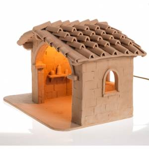 Krippe aus Terrakotta: Beleuchtete Hütte Krippe Terrakotta Deruta