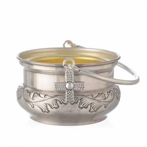 accessoires pour bénédictions: Bénitier en laiton argenté avec feuilles