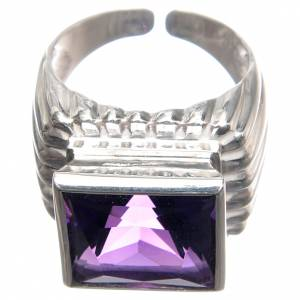 Bishop Ring in silver 800 with amethyst stone s2