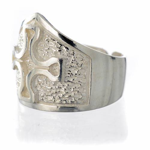 Bishop's ring in 800 silver with silver cross s3
