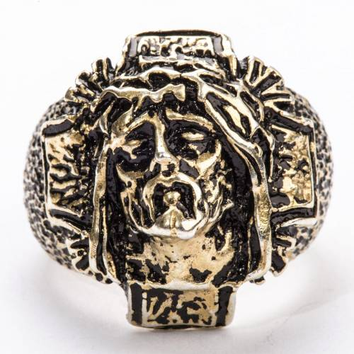 Bishop's Ring in bronzed silver 800, Christ's face s3